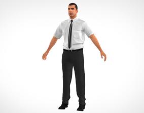 Officer man 3D model low-poly