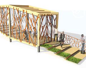 Small balancing wooden pavilion 3D