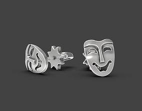 3D printable model Mask stud earrings Comedy