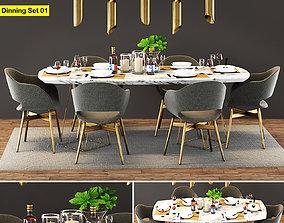 Modern Dinning Table Set 01 3D