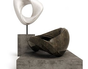 3D Set of two abstract sculptures 2