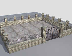 Stone fence wall pack 3 3D asset
