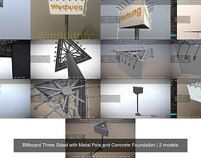 3D model Billboard Three Sided with Metal Pole and 1