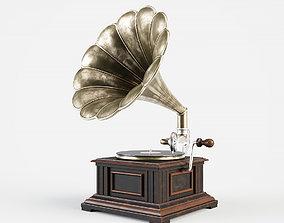 Vintage gramophone 3D model metal