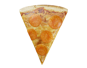 3D asset Slice of Pepperoni Pizza
