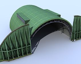 3D model Aircraft Shelter Low Poly - animated doors