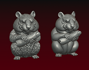 Hamster with human finger 3D print model