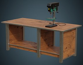 3D model Drill Press And Workbench 1A