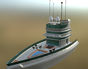 Yacht 02 PBR 3D asset