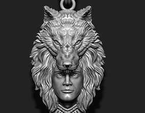3D printable model man wolf pendant