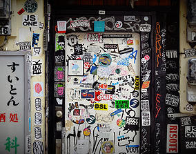 Japanese graffitied door with stickers photogrammetry 3D