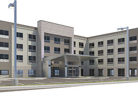 3D Commercial Building-020 Holiday Inn With Site