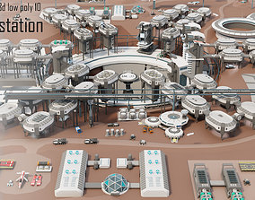 Tile pack city 3d low poly 10 space station VR / AR ready