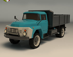 Low Poly Vintage Truck 02 3D asset game-ready