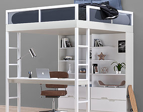 3D asset Bed-Workplace