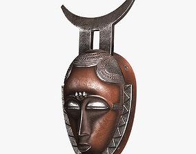 3D asset African Baule Moon Mask