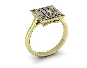 Diamonds Gold Engagement Ring 3D print model