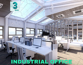 Industrial Office on Attic with Skylights Scene low-poly 3