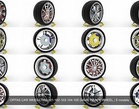 3D ORTAS CAR WHEEL RIM 101-102-103-104-105 GAME READY
