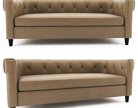 3D model Chester Tufted Leather Sofa west elm