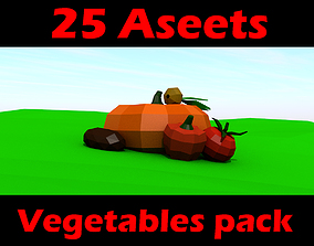 3D model Fruit and vegetables low poly pack