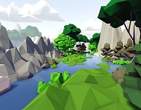 3D asset realtime Complete Low Poly Forest Pack