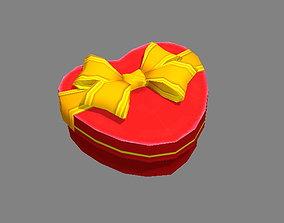 3D asset Cartoon red heart-shaped gift box