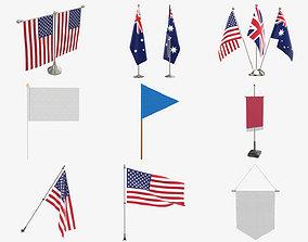3D model Decorative desk large flags wall