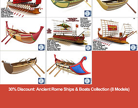 3D Ancient Rome Ships Boats Collection