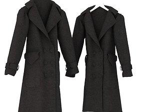 Black Button Up Overcoat 3D
