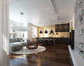 obj 3D Living room and Kitchen