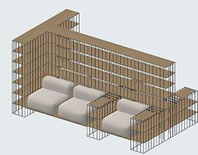 3D Bookshelf couch