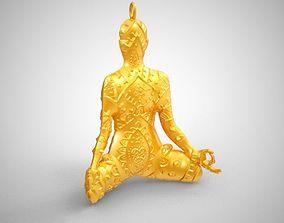 woman 3D print model Yoga Necklace