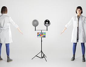 Pretty young woman in a medical coat 216 3D model