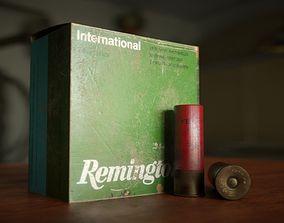 Shotgun shell gauge 12 and Remington shell box 3D asset