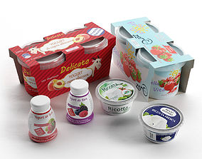 Ricotta Cheese and Yogurts 3D