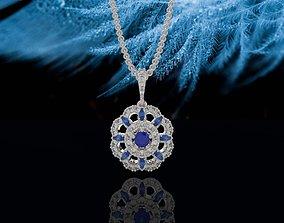 3D printable model Classical Blue floral Pendant