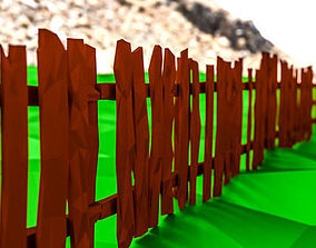 3D asset game-ready Low Poly Fence Pack