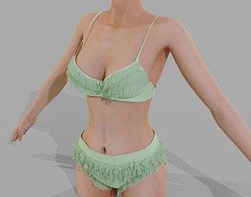 3D Green bra and panties