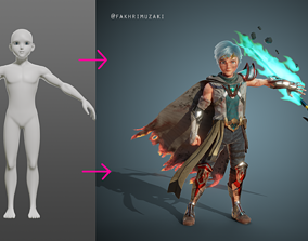 BaseMesh Anime Stylized Character Man 3D model
