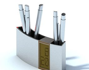 3D Digital Clock And Pen Holder