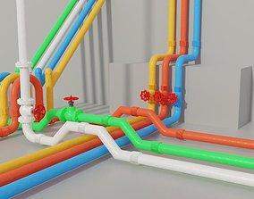 Modular Pipes 3D asset low-poly