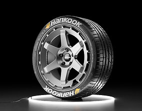 Car wheel Hankook Ventus S1 tire with Rotiform 3D model 2