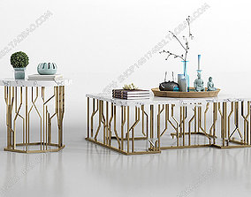 Table with accessories 3D model animated