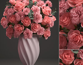 3D model Bouquet of pink roses