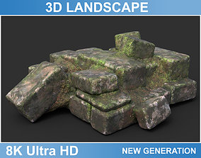 3D model Low poly Ruin Medieval Construction 02 2020