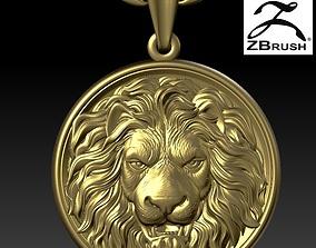 lion head pendant 3D print model beast