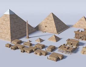 ancient egyptian pharaohs buildings 3D asset