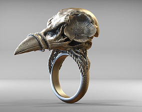 Bird Skull Ring With Flower STL 3d model for 3d