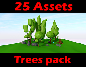 tree 3D model game-ready Trees pack